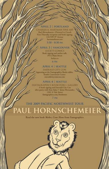Paul Hornschemeier poster for his Pacific Northwest tour