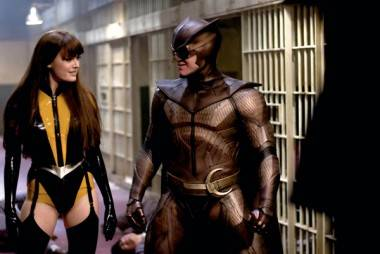 Malin Akerman and Patrick Wilson in Watchmen (2009).