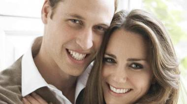 Prince William and Kate Middleton cuddle.
