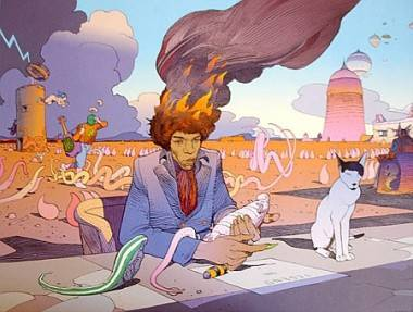 Jimi Hendrix illustration by Moebius