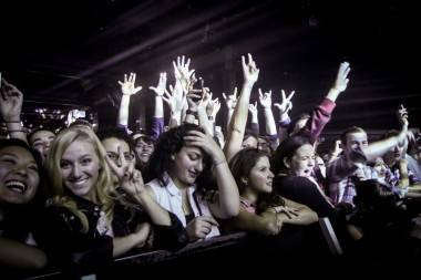 The crowd enjoing Two Door Cinema club At The Commdoore, Oct 19, 2012. 