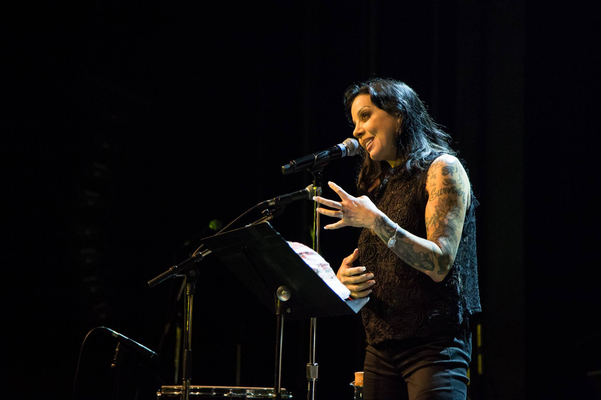 Bif Naked speaking at the Vogue Theatre, Vancouver, July 15 2017. Kirk Chantraine photo.