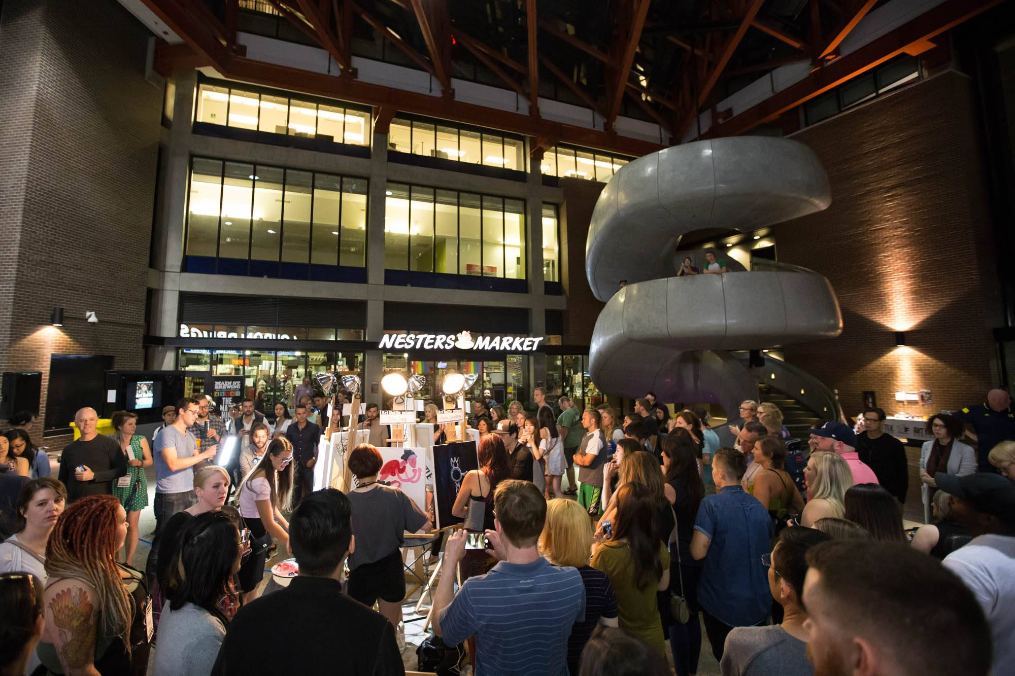 Art Battle Vancouver at the Woodward's Atrium, Vancouver, Aug 26 2017. Kirk Chantraine photo.