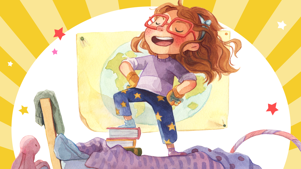Illustration of a young girl standing proudly on a bed with books and a map behind her.
