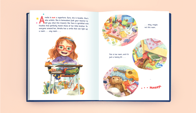 Mock up of a book with illustrations of a young girl.