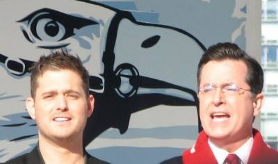 Michael Buble and Stephen Colbert, Vancouver, Feb 17 2010. Rachel Fox photo