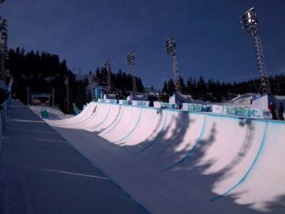 Men's snowboard half pipe is set to start at 1pm in the Cypress sunshine