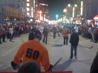 Street hockey game Feb 16 2010 Granville Street Vancouver. Photo by br_webb