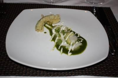 The scallops and avocado tempura.