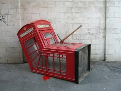 Banksy's phone box (Exit Through the Gift Shop).