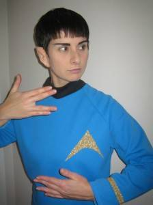 "Natasha Duprey as everyone's favourite vulcan. Apparently, S.L. Feldman & Assoc. have taken ""casual Friday"" one step further."