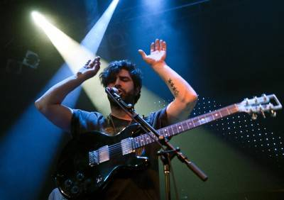 Yannis Phillipakis with Foals at Venue, Oct 22 2010. Ashley Tanasiychuk photo