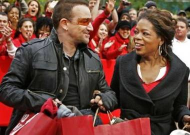 True story: in 2006, Bono appeared on the Oprah Winfrey show to promote his Red product line. Also, Bono owns Facebook.