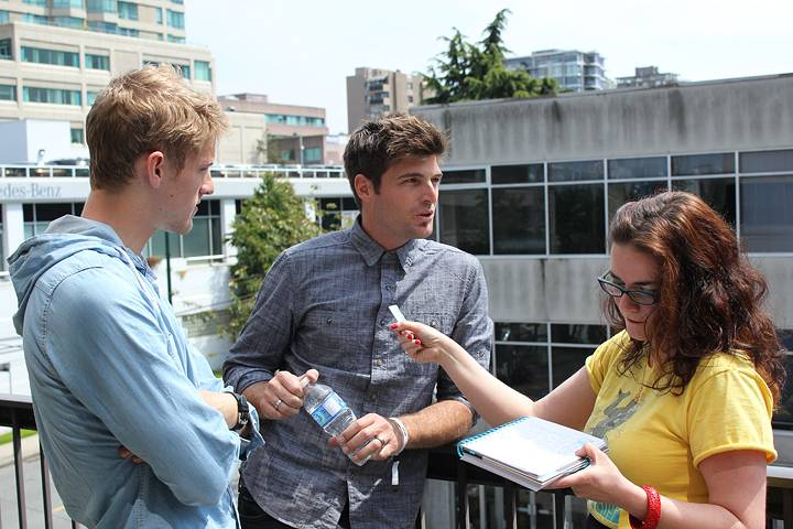 Intrepid reporter Rachel Fox interviewing Foster the People in Vancouver, May 31 2011. Ryan West photo