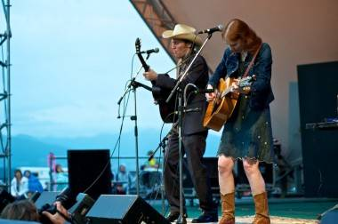 Gillian Welch and David Rawlings performing at Vancouver Folk Music Festival July 15 2011. Christopher Edmonstone photo
