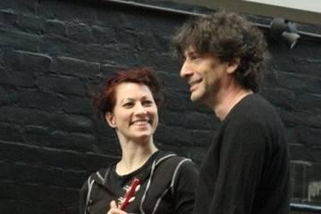 Amanda Palmer and Neil Gaiman at John Fluevog Shoes, Vancouver, Nov. 6 2011. Anja Weber photo