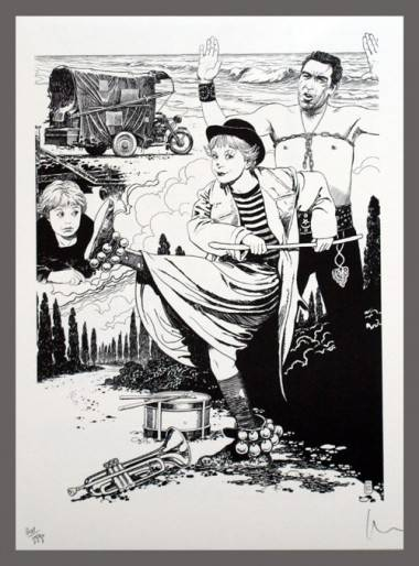 Milo Manara art inspired by Fellini's La Strada (1954).