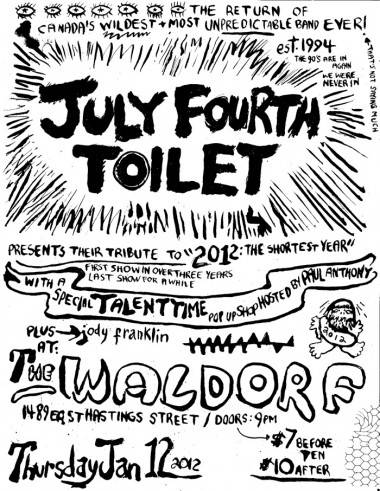 July 4th Toilet gig poster 2012