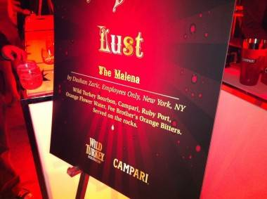 Lust cocktail sign at Tales of the Cocktail Bitter Bash Feb 14 2012.