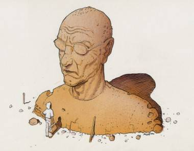 Moebius self-portrait illustration