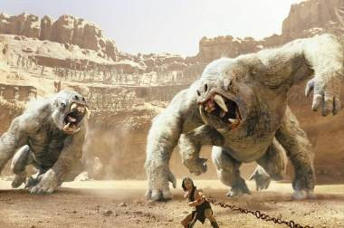 Taylor Kitsch and white apes in John Carter movie image