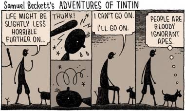 Tom Gauld cartoon Samuel Beckett's Tintin