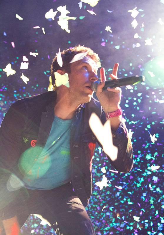 Chris Martin with Coldplay at GM Place photo