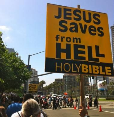 Jesus Saves sign at 2012 Comic-Con