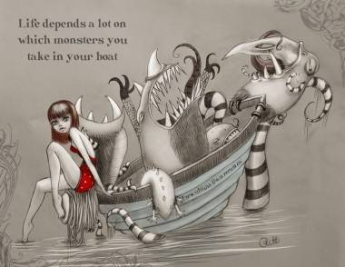 Monsters in Boat by Rebekah J. Plett