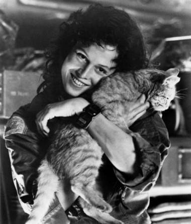 Sigourney Weaver with Jones the Cat