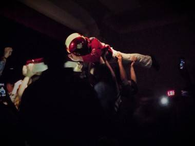 Nardwuar from the Evaporators at Ukrainian Hall, Nov 30. Katelyn Maki photo.