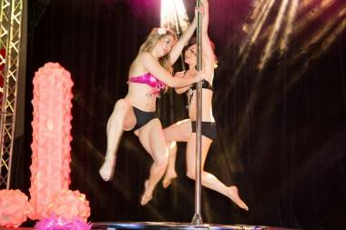 Pole Dancers at the Taboo Naughty But Nice Sex Show Jan 31. Kirk Chantraine photo.