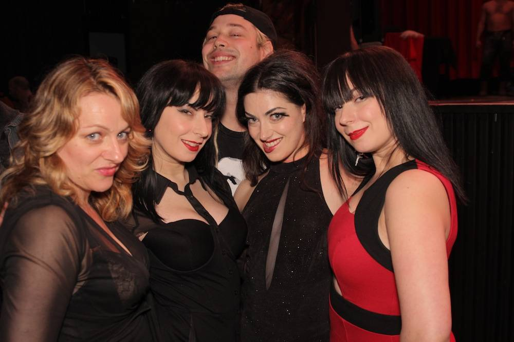 Corinne Lea, Sylvia and Jen Soska and Tristan Risk at Game of Thrones Burlesque at the Rio Theatre March 28 2014. Patrick Rooney photo.